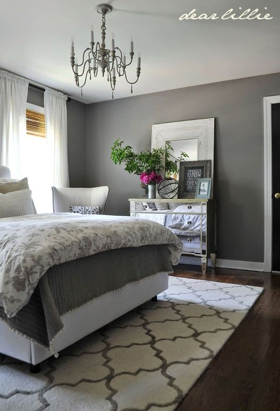 Some finishing touches to our gray guest bedroom by rug for Bedroom ideas grey walls