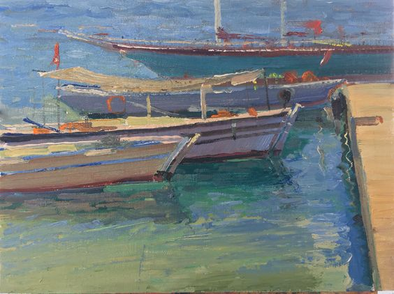 """Turkish Fishing Boats"" Oil on Canvas, 9""x11"" Painted on location in Turkey June 2016"