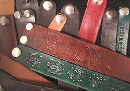 """i made all these from real """"sides"""" of leather ...hand cut, shaped, died, stamped, sealed & snaps"""