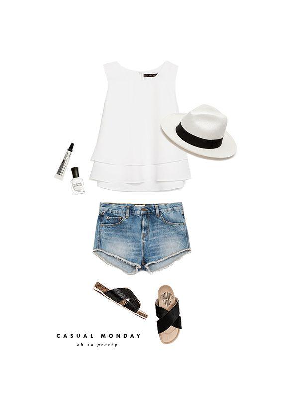 casual monday / white top + denim shorts