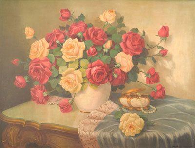 JORGE REIDER - (1912 - 1962)    Título: Rosas  Técnica: óleo sobre tela  Medidas: 60 x 80 cm  Assinatura: canto inferior direito