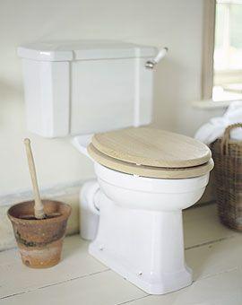 use terracotta pot to store toilet bowl brush.Wood brush $7.99@Green Boat Stuff