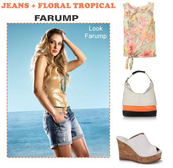 Combine o Jeans Farump com a tendência do floral tropical para compor looks com a cara do verão 2013!