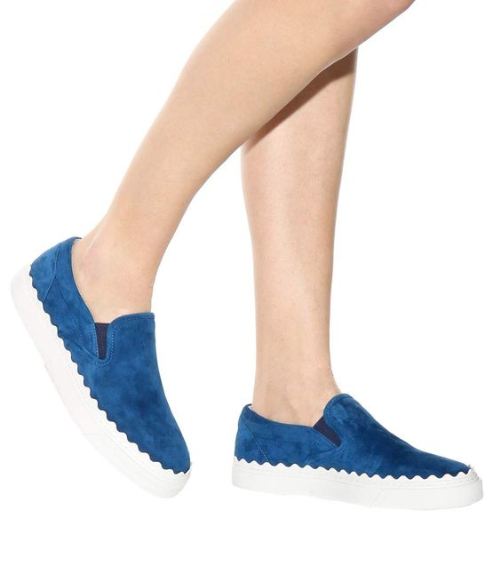 Chloé Ivy scalloped-edge slip-on sneakers with blue suede, S/S 2016.