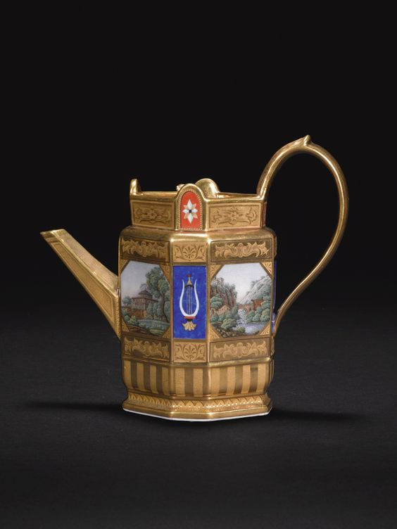 A Berlin (K.P.M) porcelain 'micro-mosaic' tea and coffee service, circa 1823-32 of octagonal form, painted with scenes of 'micro-mosaic' Italian ruins in landscapes alternating with 'lapis-lazuli' and pietra dura panels, with tooled and matted-gilt panels, and further iron-red pietra dura panels comprising: a teapot and cover, a coffeepot and cover, a sugar box and cover, a milk or cream jug, and three cups and saucers, sceptre marks in underglaze-blue, printed K.P.M and eagle marks in manganese