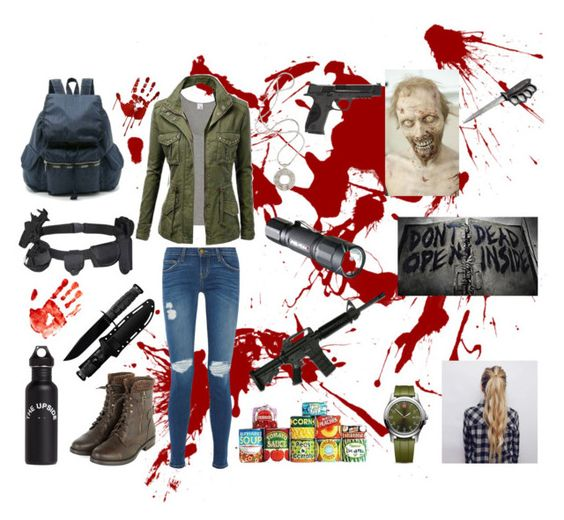 """The Walking Dead"" by bethie3313 ❤ liked on Polyvore featuring Iris & Ink, Smith & Wesson, Current/Elliott, CO, The Upside, Victorinox Swiss Army, Lara Bohinc and Volcom"