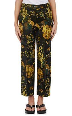 DRIES VAN NOTEN Powell Floral Jacquard Crop Trousers. #driesvannoten #cloth #trousers