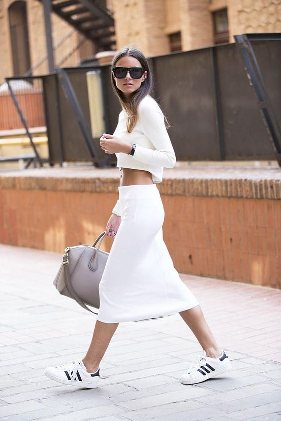 Spring Outfits 2015: 50 Flawless Looks to Copy Now - white crop top + matching midi-length pencil skirt worn with Adidas sneakers: