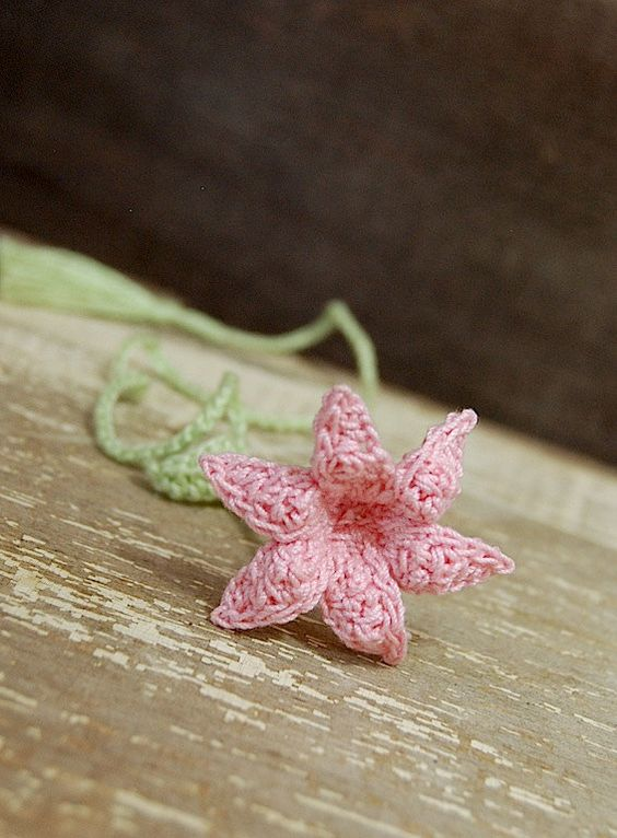 Crochet Handmade Bookmark Pink Lily Flower by joyoustreasures
