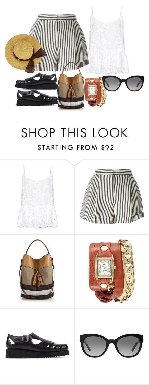 """""""Pleated Shorts"""" by tanyakountz ❤ liked on Polyvore featuring Velvet by Graham & Spencer, 3.1 Phillip Lim, Burberry, La Mer and Grenson"""