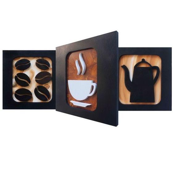Quadro Café Premium I - Trio  - 3 Quadros decorativos que harmonizam as paredes da sua sala, cozinha ou cantinho do café.   - Com desenhos criativos de bule, xícara e grãos de café esculpidos em relevo no mdf, pintura acrílica e esmalte.   - Medidas de cada quadro: L 30 cm x A 30 cm x C 2 cm  - P...