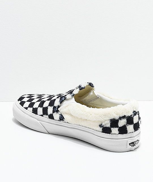 elegant shoes a few days away latest style of 2019 Vans Slip-On Checkered Black & White Sherpa Skate Shoes ...