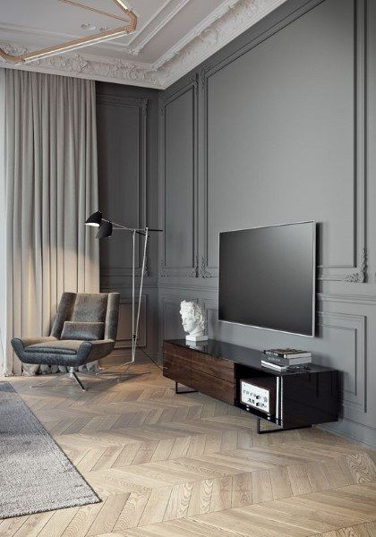 60 Wainscoting Ideas Unique Millwork Wall Covering And Paneling Designs Dark Grey Living Room Wainscoting Styles Minimalist Living Room