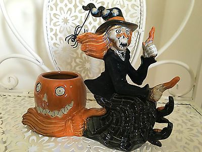 Yankee Candle Boney Bunch Halloween Flying Witch Votive Candle Holder