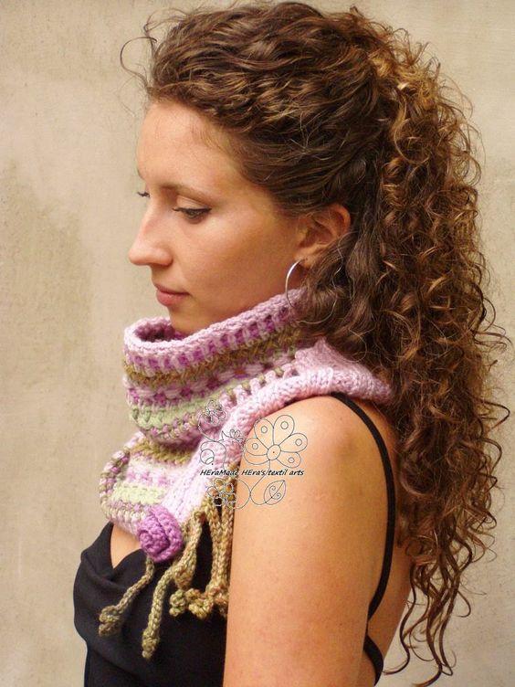 infinity knit crochet scarf in boho style