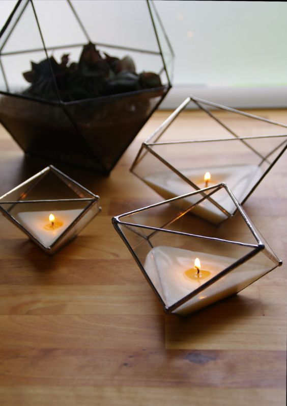 NEW - Set of 3 glass candle holders. Facets. Geometric. Handmade candles.