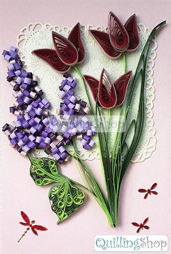 Квиллинг Quillingshop: Открытка Сирень и красные тюльпаны. Открытка малая с фигурной вырубкой: