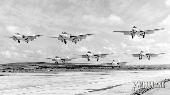 Formation flying is tricky enough,but landing in formation a whole different league.Hawker Sea Hawk FGA.4s from 800 NAS display team perform one of their trademark touchdowns at RNAS Brawdy in September 1958. The íƒÚRed DevilsíƒÙ team was formed in 1957 by 738 NAS and flew a five-ship of red-painted Sea Hawk FB.3s, but was disbanded at the end of the season. For the 1958 SBAC airshow 800 NAS took on the display mantle with seven standard-painted Sea Hawks, which were fitted with smoke…
