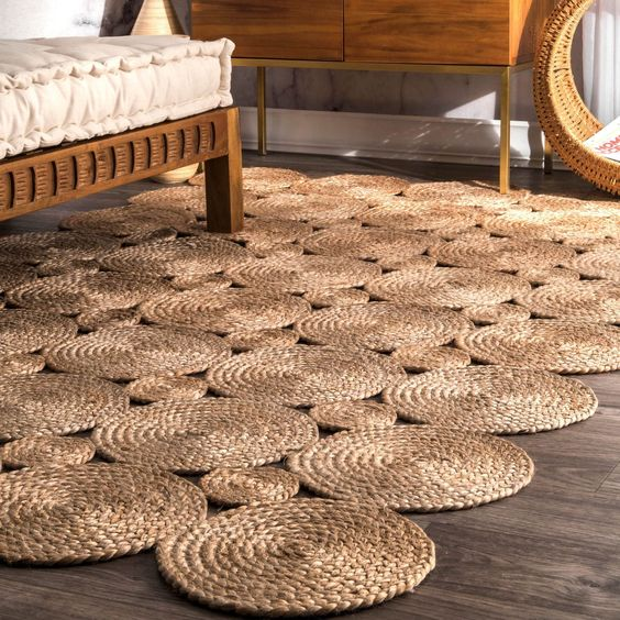 nuLOOM Alexa Eco Natural Fiber Braided Reversible Circles Jute Area Rug (6' x 9') (Natural), Size 6' x 9'
