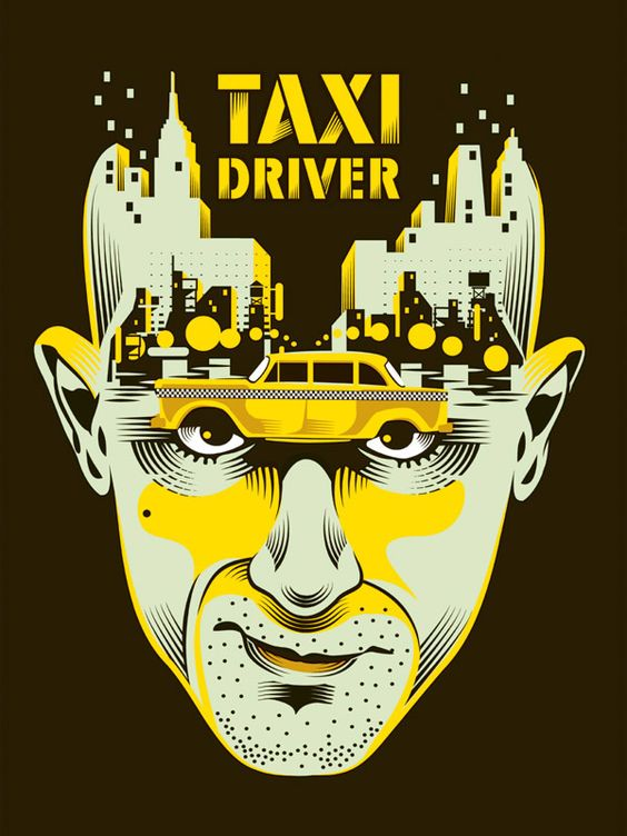 """Taxi Driver"" by Yann Legendre. 18″ x 24″ 4-color Screenprint. Ed of 50 S/N."