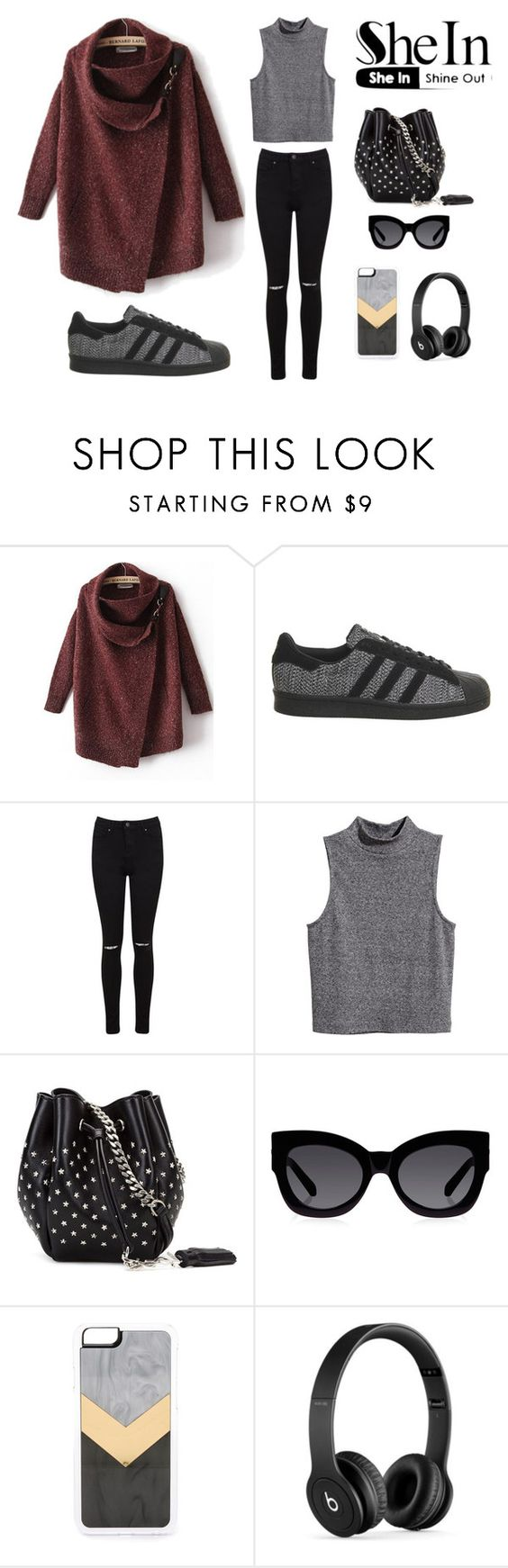 """""""shein grey"""" by whykristina ❤ liked on Polyvore featuring adidas, Miss Selfridge, H&M, Yves Saint Laurent, Karen Walker, Zero Gravity and Beats by Dr. Dre"""