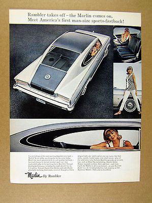 1965 Rambler Marlin Fastback black & silver car photo vintage print Ad