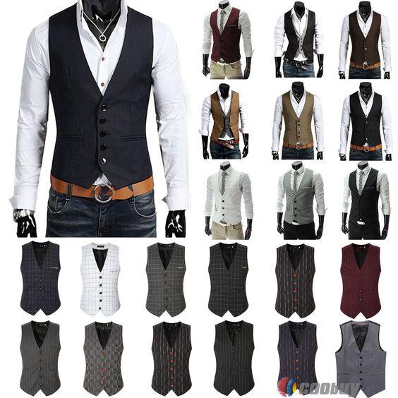 Wonder Stage Mens Slim Fit 5 Button Formal Suit Vest
