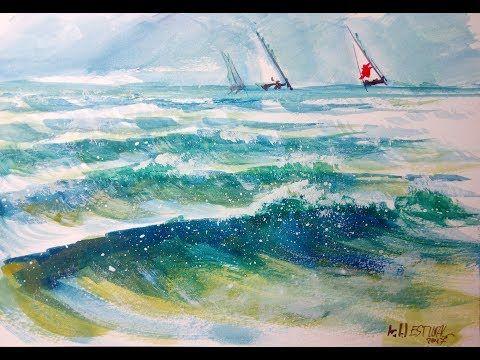 Video 61 Peindre A L Aquarelle Sans Dessiner La Mer Et Les Vagues