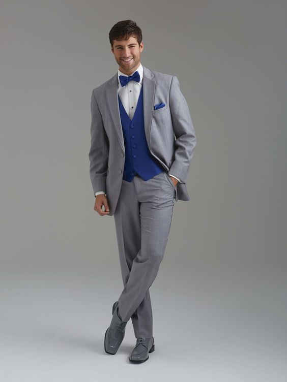 Royal blue vest & tie with an all grey suit by Sarno & Sons