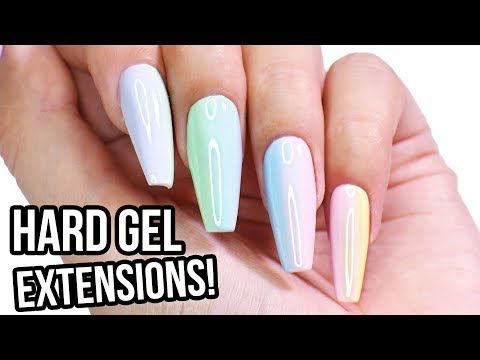 Hard Gel Nail Extensions Step By Step How To Tutorial Youtube Gel Nail Extensions Hard Gel Nails Gel Nail Tutorial