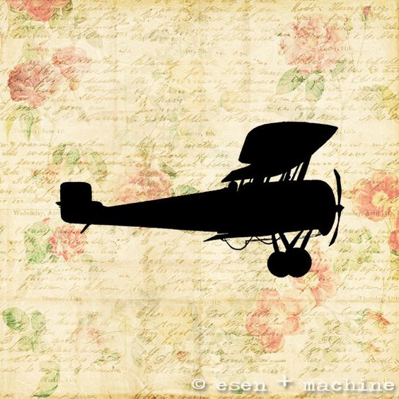 Antique Airplane Silhouette Art Print  Real by esenplusmachine, $11.00