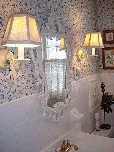 Shabby Chic bathroom update love the small print wallpaper I love the in  Shabby  Chic. Shabby Chic Bathroom Wallpaper