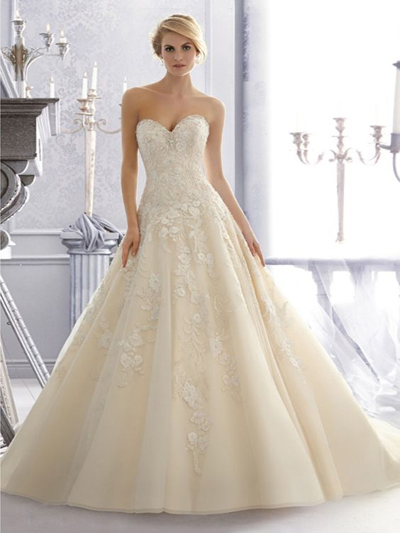 2014 Style A-line Sweetheart Lace Wedding Dresses #GS235