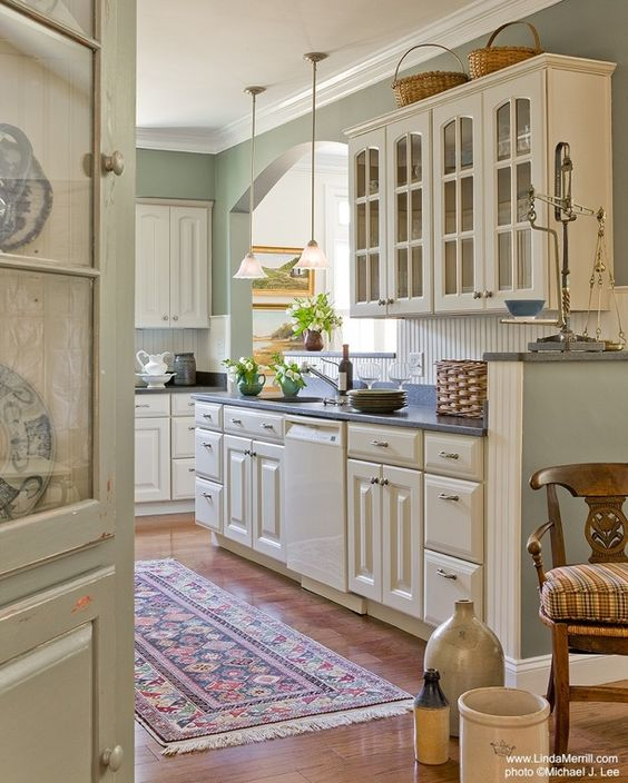 Green Kitchen Walls With Cream Cabinets: Paint Colors, Kitchen Colors And