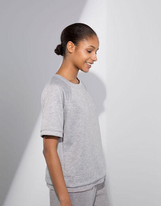 Pull&Bear - woman - gymwear - neoprene gym t-shirt - grey marl - 09243329-V2016
