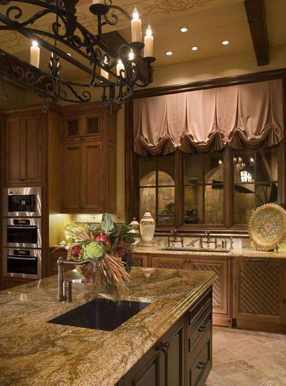 The plumbing fixtures and pot rack are fantastic