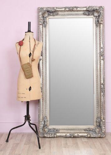 Carved silver full length leaner floor standing mirror for Silver floor length mirror