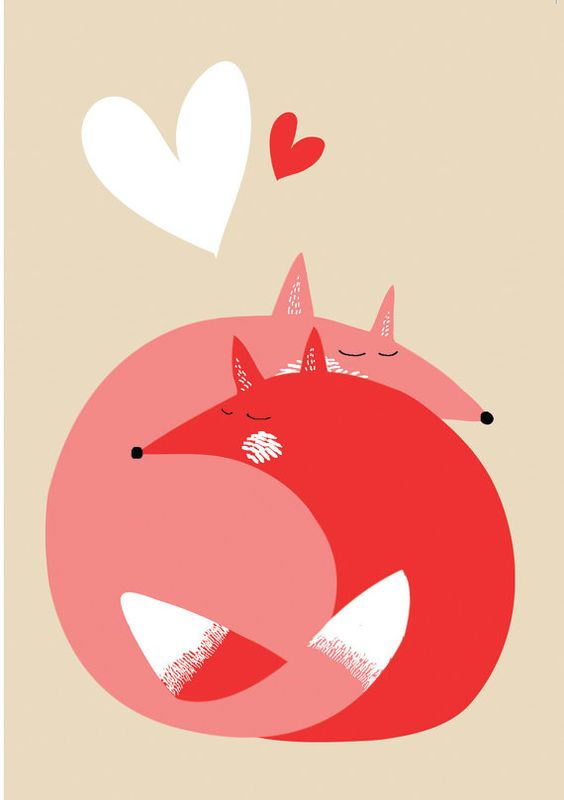 Love Foxes // A6 blank greeting card van essillustration op Etsy:
