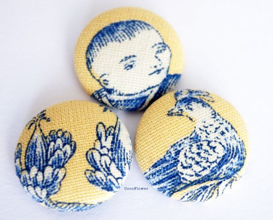 3 #Fabric #Buttons Yellow Blue #French toile by CocoFlowerSupplies