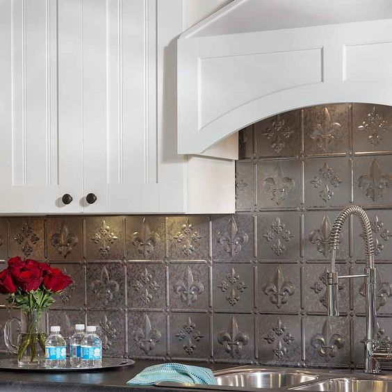 fasade backsplash fleur de lis in galvanized steel