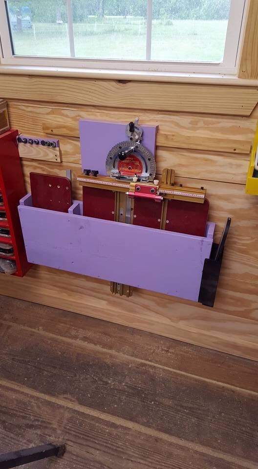 Incra Table Saw Sled Storage. I Put Cut Outs In The Bottom So The Parts  Would Fit. I Lined The Inside With Batting To Protect It. Hung On A French  Cleat.
