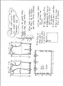 Esquema de modelagem de vestido com recorte e pregas costuradas tamanho 38.