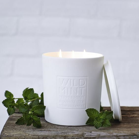 Wild Mint Candle | The White Company. Shopping from the US? -> http://us.thewhitecompany.com/Candles-and-Fragrance/Candles/Wild-Mint-Candle/p/WMDSI?swatch=No+Colour