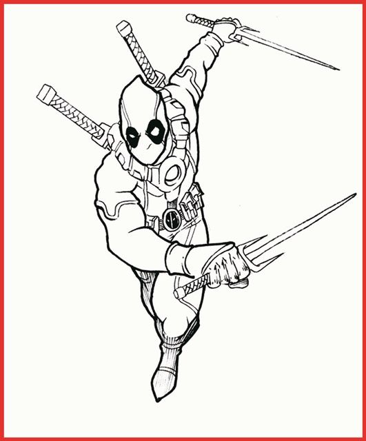 Printable Deadpool Coloring Pages Ideas With Simple Costume Free Coloring Sheets