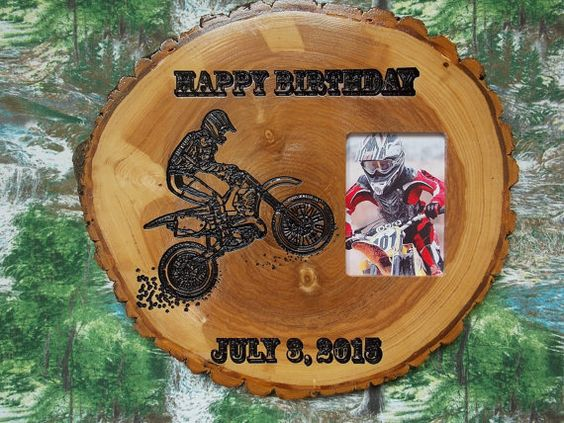 Happy Birthday Motorcycle Picture Frame  by TheWoodGrainGallery
