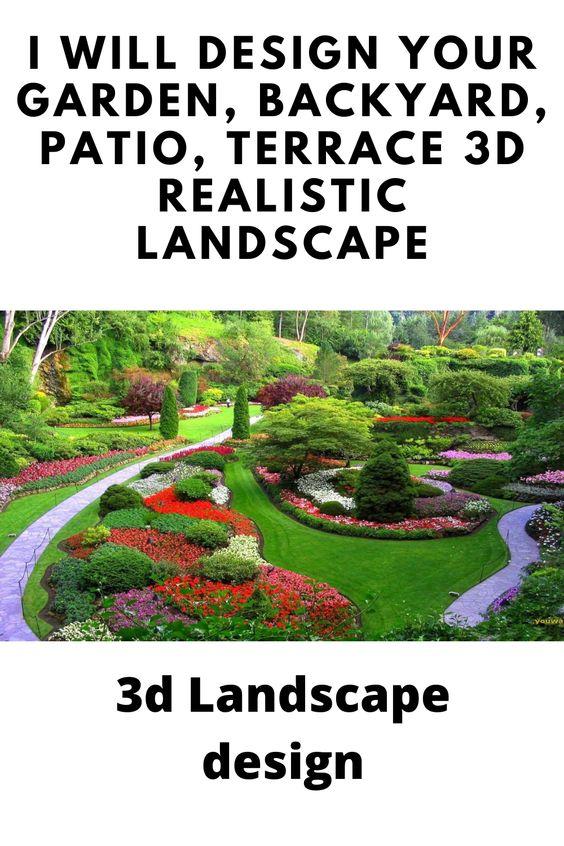 I Will Design Your Garden Backyard Patio Terrace 3d Realistic Landscape 3d Landscape Landscape Design Software Landscape Design Services Landscape Planner