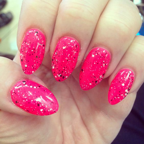 Hot pink gel nails with black and white glitter | My Nails ...