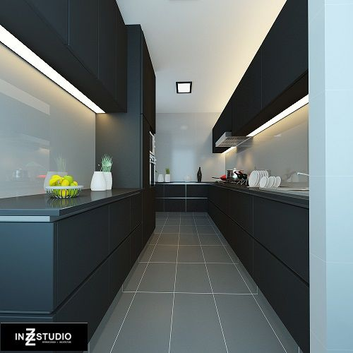 Modern Kitchen Designer Singapore: The Lighting. Dry & Wet Kitchen On Either Side