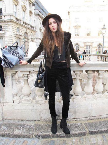 brown hat + gray + velvet pants