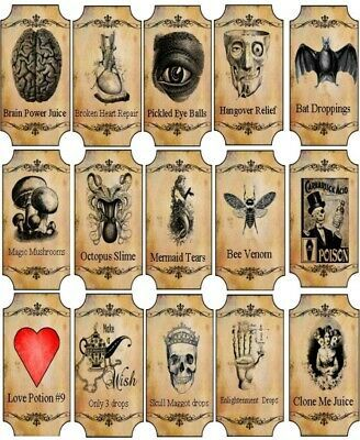 Halloween Love potion label stickers apothecary  set of 9 scrapbooking crafts